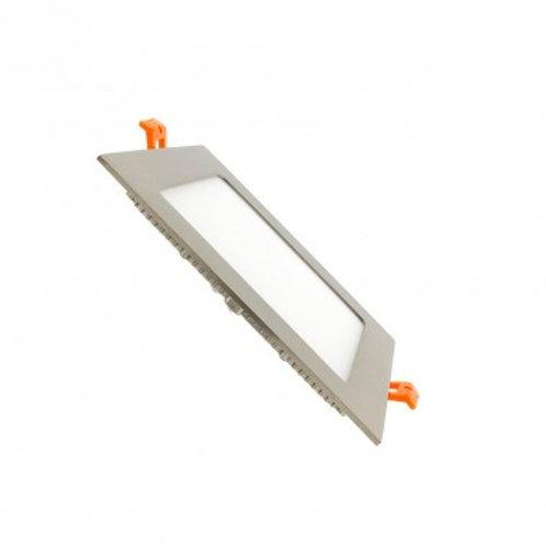 Dalle LED SMD carrée cadre argenté, 12W