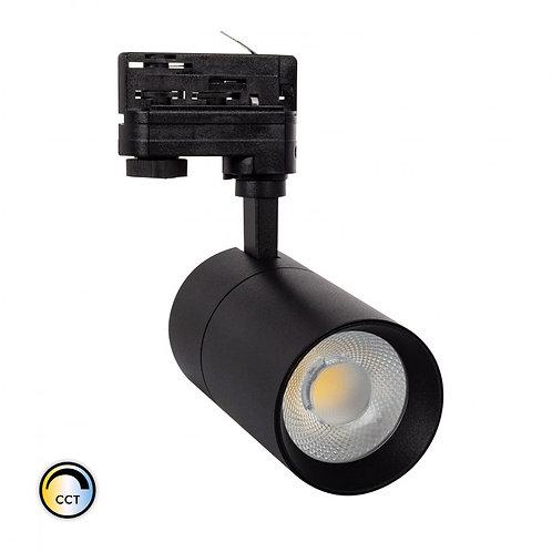 Spot LED, cadre noir, orientable, pour rail triphasé, 20W, sélectionnable