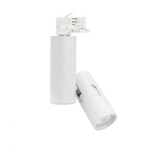 Spot LED, cadre blanc, pour rail triphasé, multi-angle, 20W, UGR19
