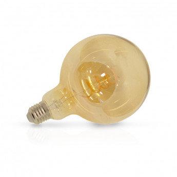 Ampoule LED E27 G125, globe filament spirale, 4W, golden