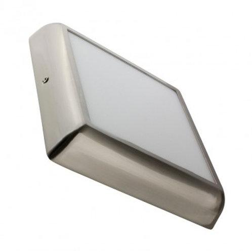 Plafonnier LED carré cadre argenté, 18W