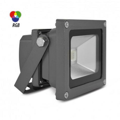 Projecteur LED extérieur cadre gris, 10W, RGB