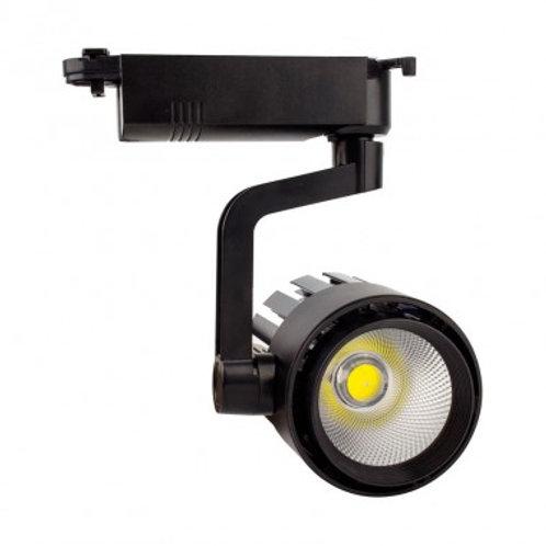 Spot LED, cadre noir, orientable, pour rail triphasé, 30W