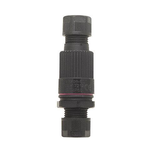 Connecteur noir étanche, boitier traversant, IP68, 3 fils