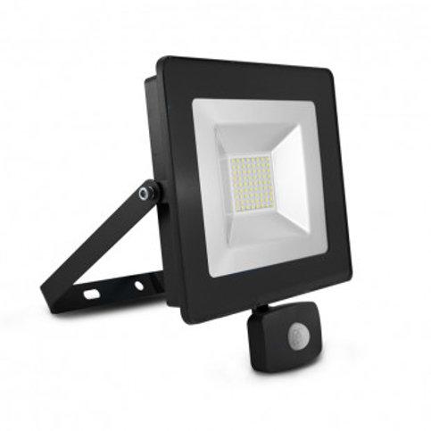 Projecteur LED SMD extérieur cadre gris, 50W, avec détecteur