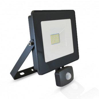 Projecteur LED SMD extérieur cadre gris, 30W, avec détecteur