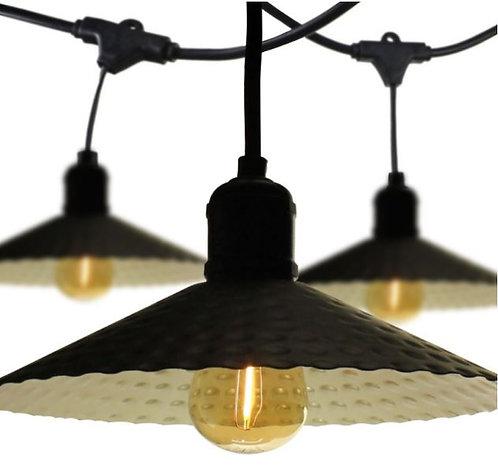 Guirlande guinguette avec abat-jour noir, 10m, avec 10 ampoules LED E27 ambres