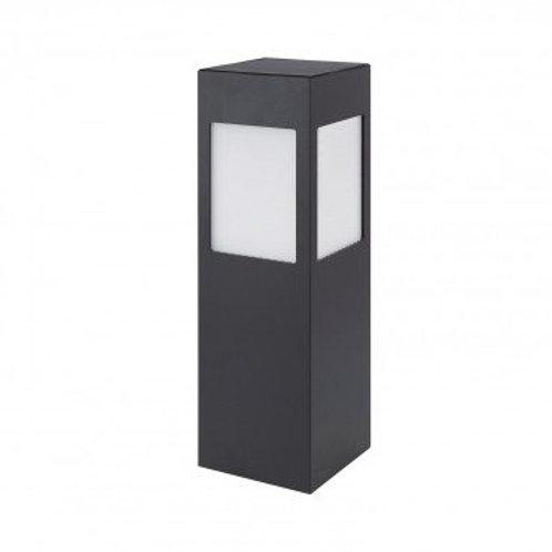 Balise sur pied LED rectangulaire cadre noir, solaire, 01W, 40cm, avec détecteur
