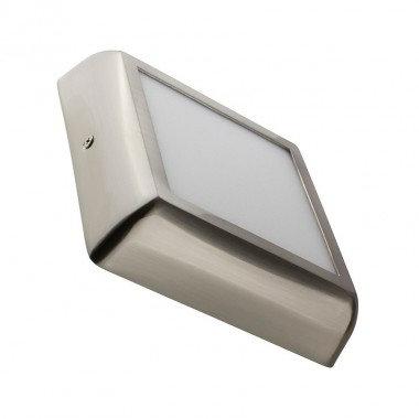 Plafonnier LED carré cadre argenté, 12W