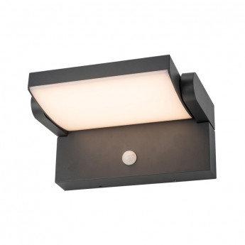 Applique LED extérieure, cadre gris, orientable, 12W, IP54, avec détecteur