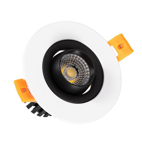 Spot LED rond cadre blanc, orientable, 7W