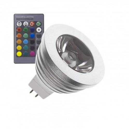 Ampoule LED GU5,3 MR16, angle d'ouverture 60°, 3W, 12V DC, RGB
