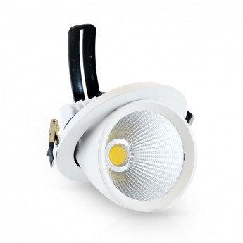 Spot LED ronc cadre blanc, orientable, 30W