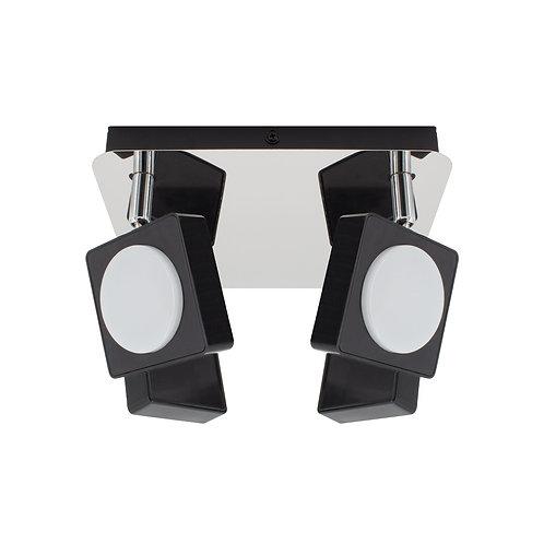 Plafonnier noir, orientable, 4 spots, 24W