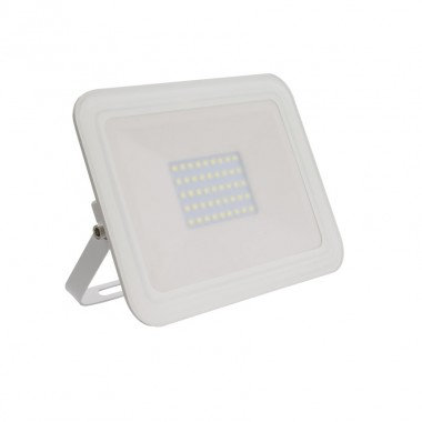 Projecteur LED SMD crystal extérieur cadre blanc, extra-plat, 30W