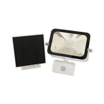 Projecteur LED solaire cadre blanc, 10W, avec détecteur