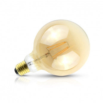 Ampoule LED E27 G125, globe filament, 8W, golden, dimmable