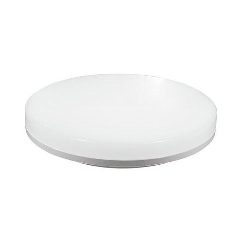 Plafonnier LED rond, cadre blanc, 18W