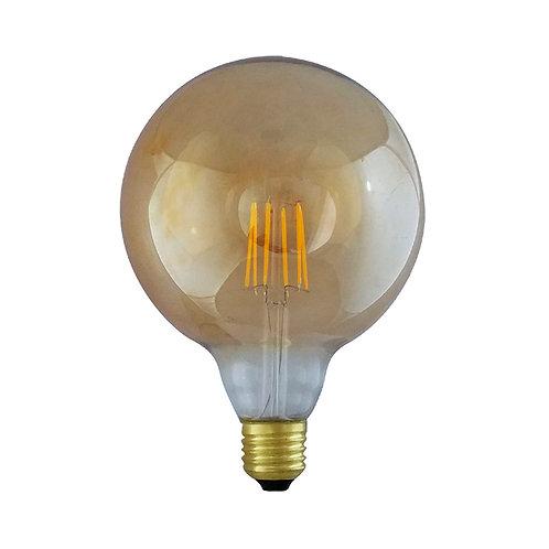 Ampoule LED COB E27 G125, globe filament, 8W, golden