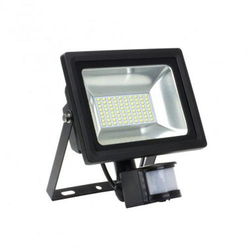 Projecteur LED SMD extérieur cadre noir, 30W, avec détecteur