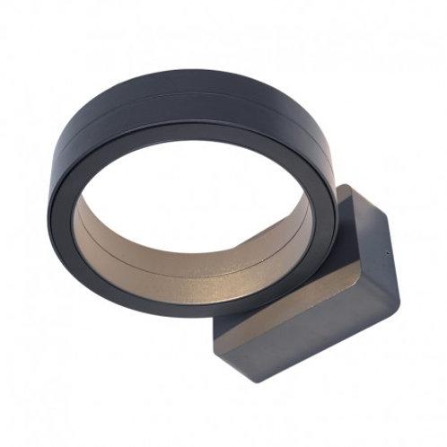 Applique LED cylindrique extérieure cadre gris anthracite, 16W