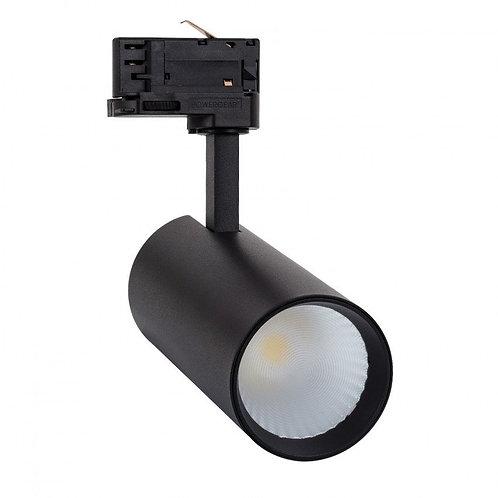 Spot LED, cadre noir, pour rail triphasé, 30W, sélectionnable