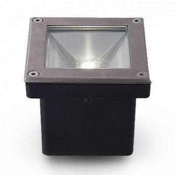 Spot LED encastrable au sol carré extérieur cadre gris anthracite, étanche, 5W