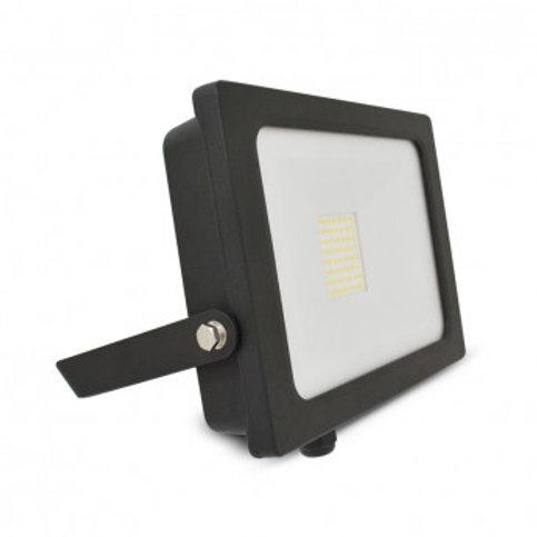 Projecteur LED extérieur cadre noir, plat, 30W