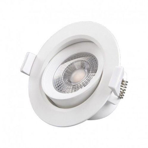 Spot LED rond cadre blanc, orientable, 5W