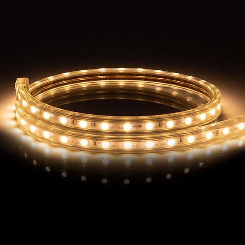 Ruban LED, 10W/m, 220V AC, IP65, 3000°K, dimmable, coupe tous les 100cm