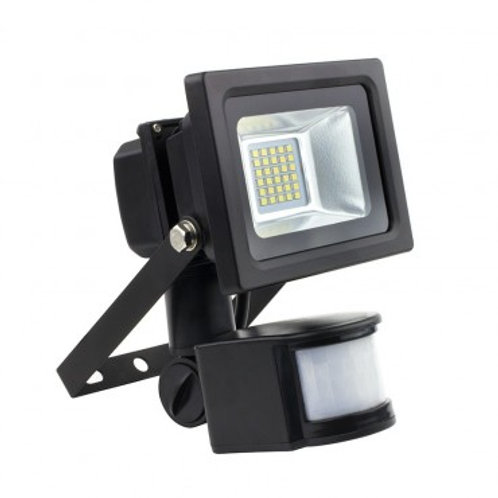 Projecteur LED SMD extérieur cadre noir, 10W, avec détecteur