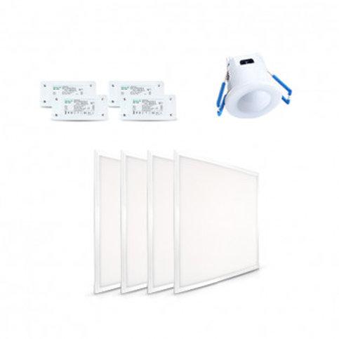 Pack de 4 Dalles LED carrées cadre blanc, 36W, et un variateur
