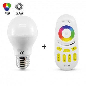 Ampoule LED E27, bulbe filament, 7W, RGB + Blanc, dimmable, avec télécommande