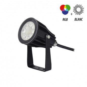 Projecteur LED extérieur cadre noir, 6W, RGB + blanc