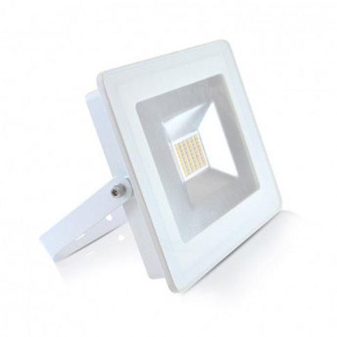 Projecteur LED extérieur cadre blanc, extra-plat, 30W
