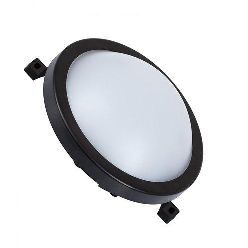 Plafonnier LED rond, cadre noir, 12W