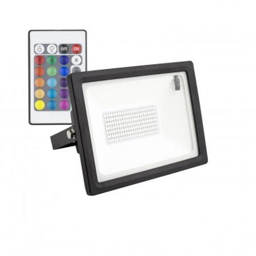 Projecteur LED Epistar extérieur cadre noir, 30W, RGB
