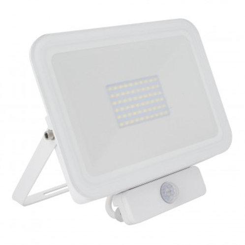 Projecteur LED SMD extérieur cadre blanc, extra-plat, 50W, avec détecteur