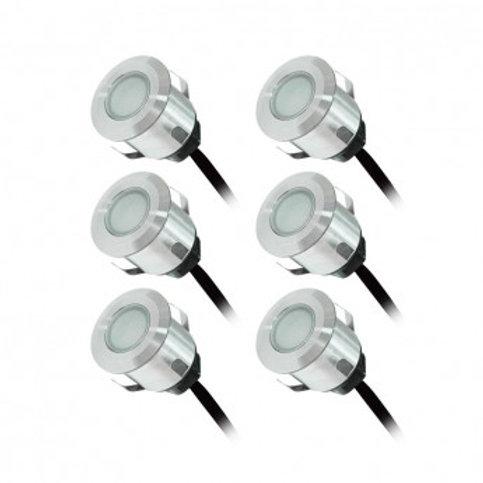 Pack de 6 Spots LED encastrables extérieur, étanches, 6x0,6W