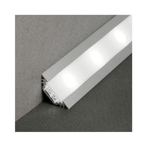 Profilé en aluminium anodisé pour ruban LED, 1m, angle 45°