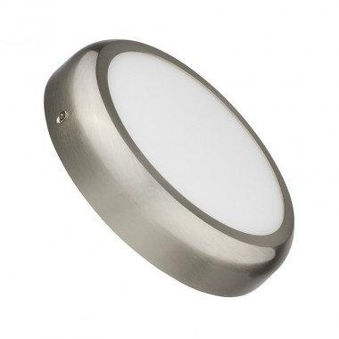 Plafonnier LED rond cadre argenté, 18W