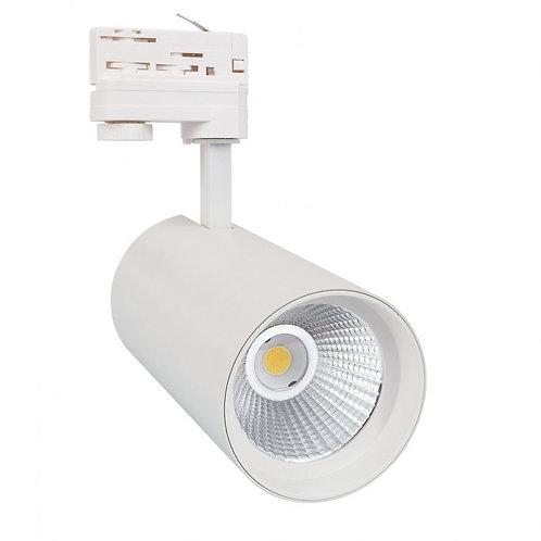 Spot LED, cadre blanc, orientable, pour rail triphasé, 40W, sélectionna