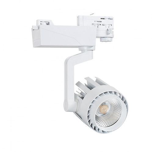 Spot LED, cadre blanc, pour rail triphasé, 30W