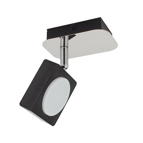 Plafonnier noir, orientable, 1 spot, 6W