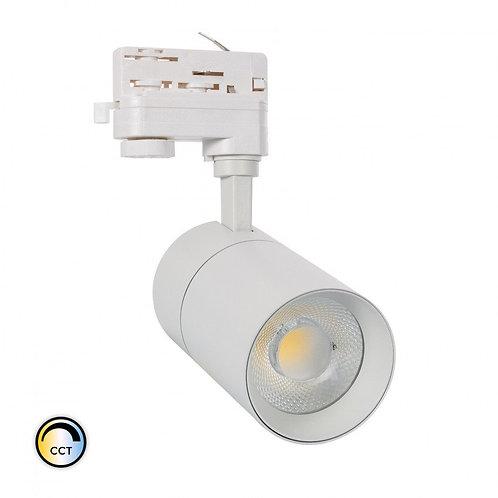 Spot LED, cadre blanc, orientable, pour rail triphasé, 20W, sélectionnable