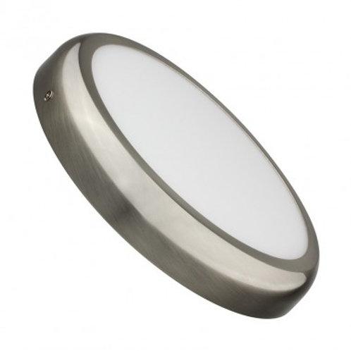 Plafonnier LED rond cadre argenté, 24W