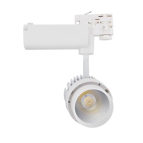 Spot LED, cadre blanc, orientable, pour rail triphasé, 30W