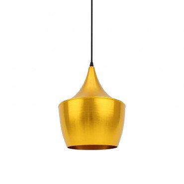 Lampe suspendue vintage dorée
