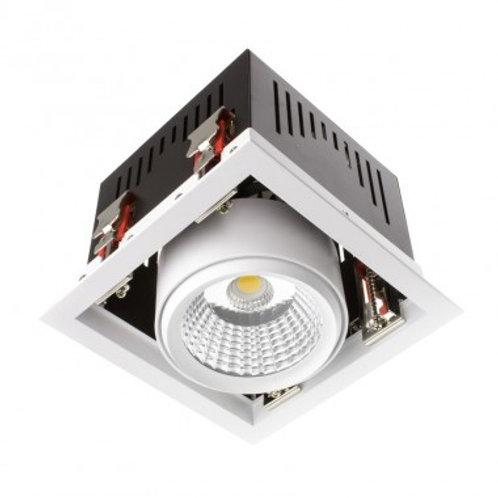 Projecteur encastrable LED Samsung Grill COB carré cadre blanc, 30W