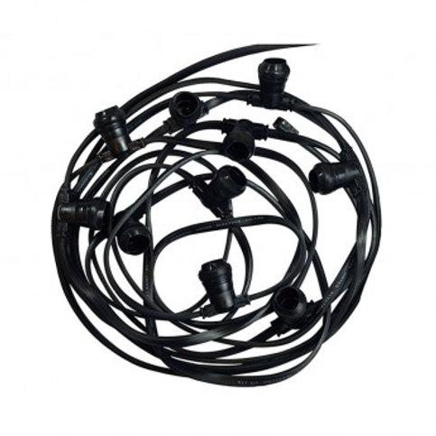 Guirlande foraine cable plat noir, 10m, 20 douilles